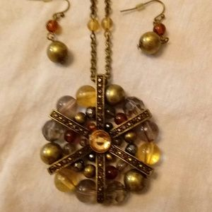 Jewelry - Medallion pendant and earrings